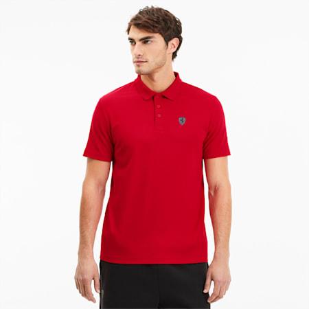 Scuderia Ferrari Short Sleeve Men's Polo Shirt, Rosso Corsa, small-SEA