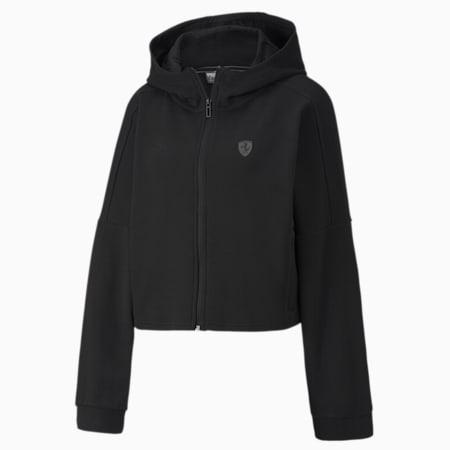 Scuderia Ferrari Hooded Women's Sweat Jacket, Puma Black, small-SEA