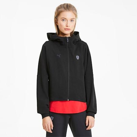 Scuderia Ferrari Hooded Women's Sweat Jacket, Puma Black, small