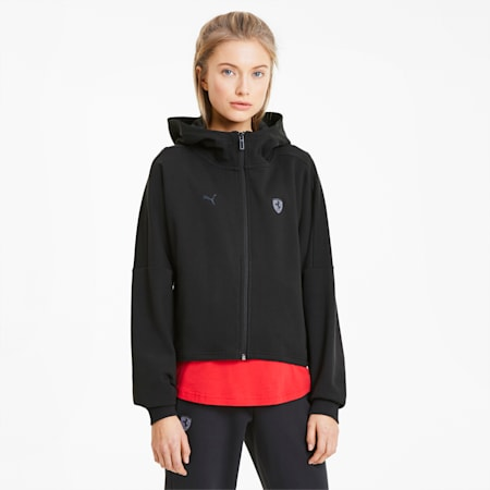 Scuderia Ferrari Hooded Women's Sweat Jacket, Puma Black, small-SEA