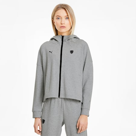 Scuderia Ferrari Women's Hooded Sweat Jacket, Light Gray Heather, small