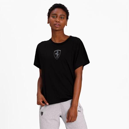 Ferrari Wmn Big Shield T-Shirt, Puma Black, small-IND