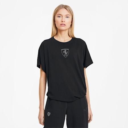 Camiseta con escudo grande de Scuderia Ferrari para mujer, Puma Black, pequeño