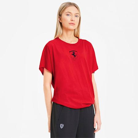 Camiseta con escudo grande de Scuderia Ferrari para mujer, Rosso Corsa, pequeño