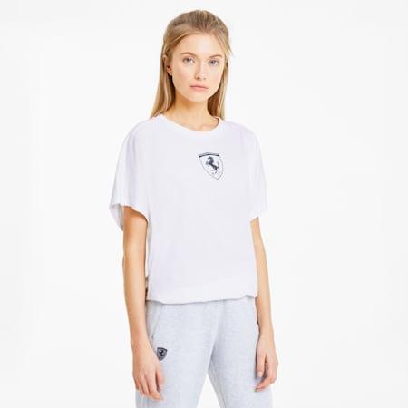 Camiseta con escudo grande de Scuderia Ferrari para mujer, Puma White, pequeño
