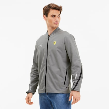 Scuderia Ferrari Men's Lightweight Sweat Jacket, Medium Gray Heather, small
