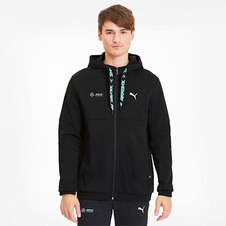 Mercedes AMG Petronas Men's Hooded Sweat Jacket, Puma Black, small