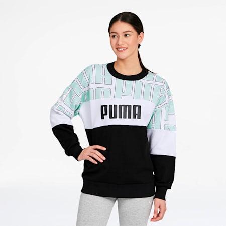 Women's AOP Crewneck Sweatshirt, Mist Green, small