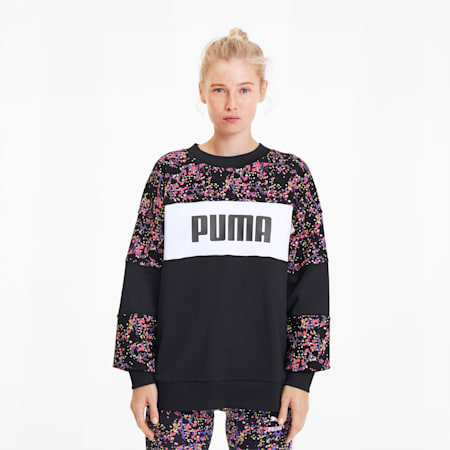 Women's AOP Crewneck Sweatshirt, Puma Black-Brand AOP, small