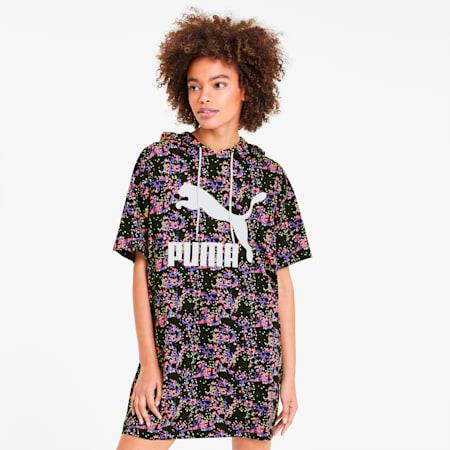 Summer Women's AOP Hooded Dress, Puma Black, small