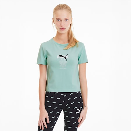 Tailored for Sport Women's Graphic Crop Top, Mist Green, small
