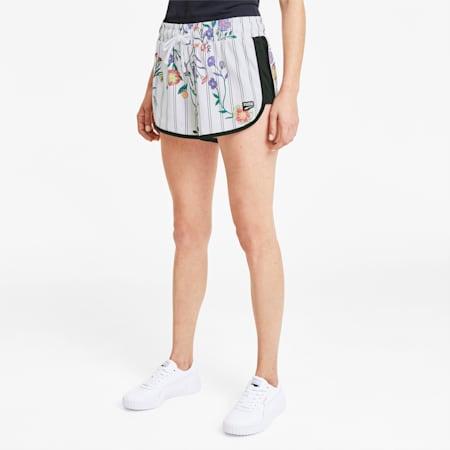 Shorts para mujer Downtown AOP, Puma White, small