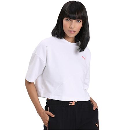 Evide Form Stripe Crop T-Shirt, Puma White, small-IND