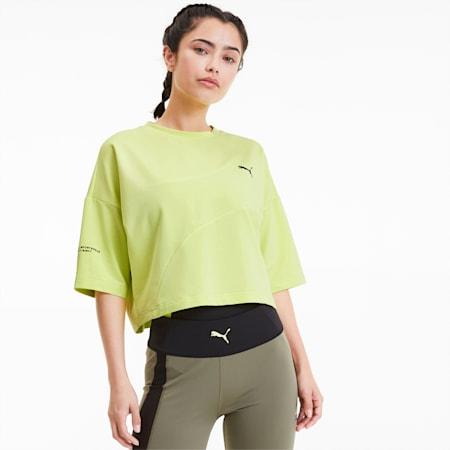 Damska skrócona koszulka Evide Form Stripe, Sunny Lime, small