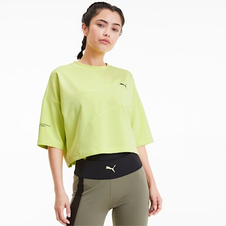 Evide Form Stripe Cropped-T-shirt til kvinder, Sunny Lime, small