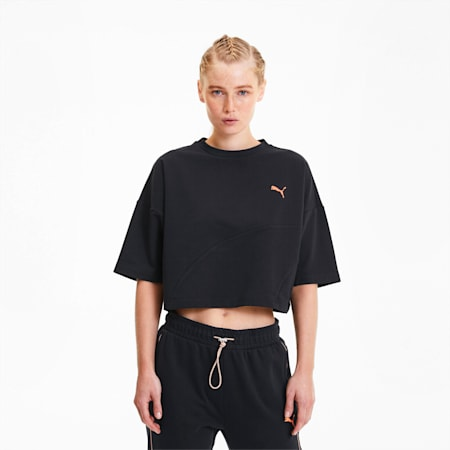 Damska skrócona koszulka Evide Form Stripe, Puma Black-Fizzy Orange, small