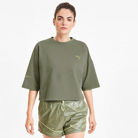 Evide Formstrip Women's Cropped Tee, Deep Lichen Green, small