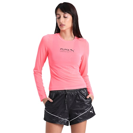 Evide Longsleeve Mesh Top, Ignite Pink, small-IND