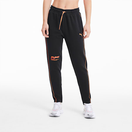Evide Women's Sweatpants, Puma Black-Fizzy Orange, small