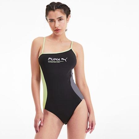 Evide Women's Sleeveless Bodysuit, Puma Black, small