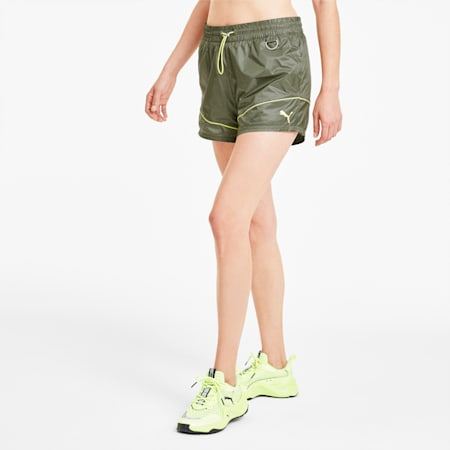 Evide Women's Woven Shorts, Deep Lichen Green, small