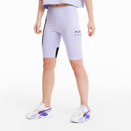 Evide Women's High Waisted Tight Shorts, Purple Heather, small