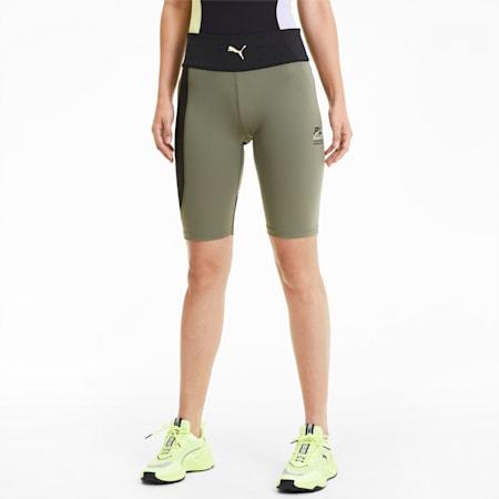 Evide High Waist Tight Women's Shorts, Deep Lichen Green, small-SEA