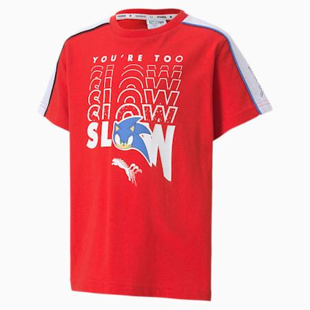 PUMA x SONIC Advanced Jungen T-Shirt, High Risk Red, small