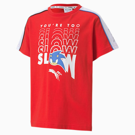 PUMA x SONIC Boys' Tee, High Risk Red, small