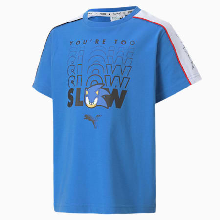 PUMA x SONIC Advanced Jungen T-Shirt, Palace Blue, small