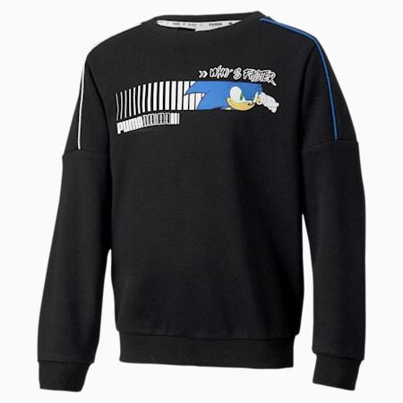 PUMA x SEGA Boys' Crew Sweatshirt, Puma Black, small-SEA