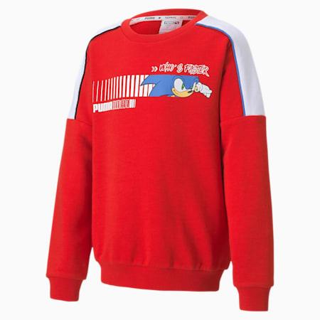 PUMA x SONIC Boys' Crewneck Sweatshirt, High Risk Red, small
