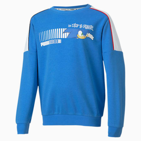 PUMA x SONIC Boys' Crewneck Sweatshirt, Palace Blue, small