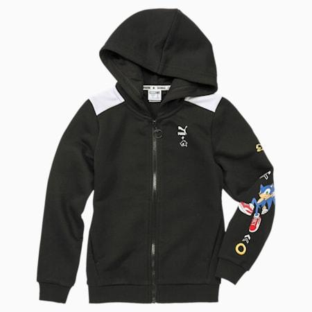 Chłopięca kurtka dresowa z kapturem PUMA x SONIC, Puma Black, small