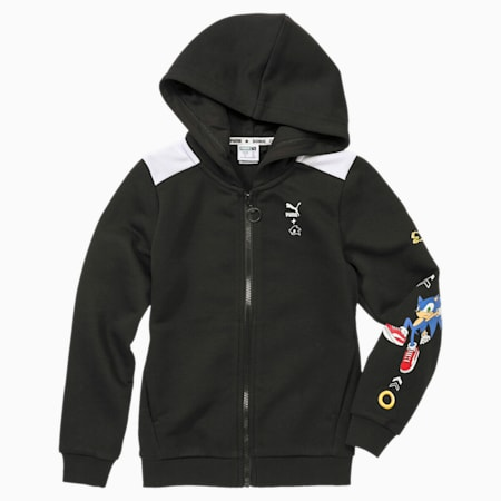 PUMA x SONIC Hooded Boys' Sweat Jacket, Puma Black, small-SEA