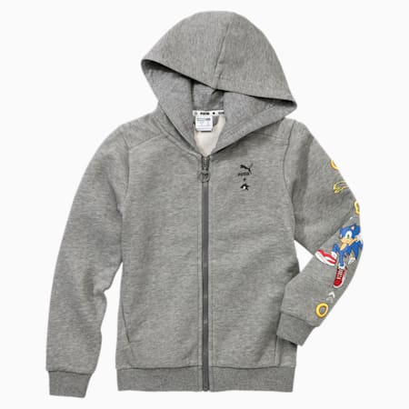 PUMA x SONIC Hooded Boys' Sweat Jacket, Medium Gray Heather, small-SEA