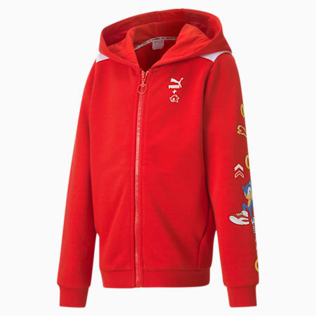 PUMA x SONIC Hooded Boys' Sweat Jacket, High Risk Red, small-SEA