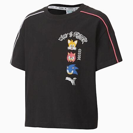 キッズ ガールズ PUMA x SEGA Tシャツ 半袖 92-152cm, Puma Black, small-JPN