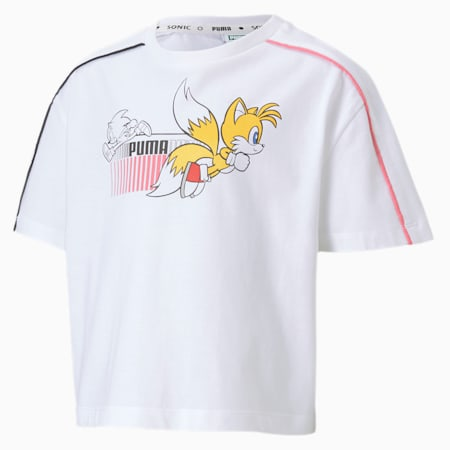PUMA x SONIC Girls' Tee, Puma White, small
