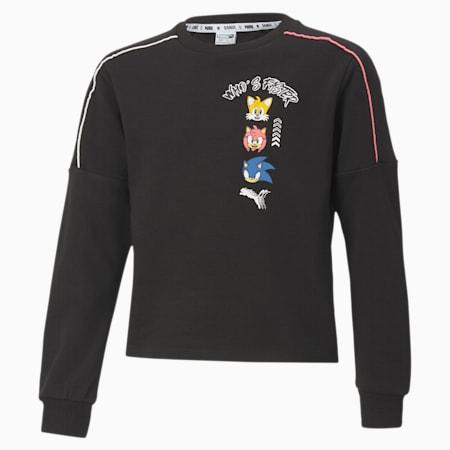 PUMA x SONIC Girls' Sweater, Puma Black, small-SEA