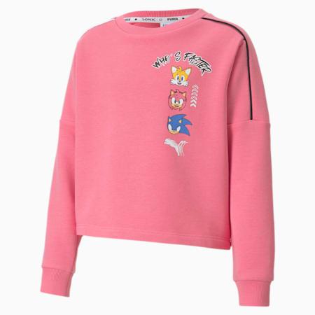 PUMA x SONIC Girls' Crewneck Sweatshirt, Bubblegum, small