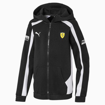Scuderia Ferrari  Unisex Kids Hooded Sweat Jacket, Puma Black, small-IND