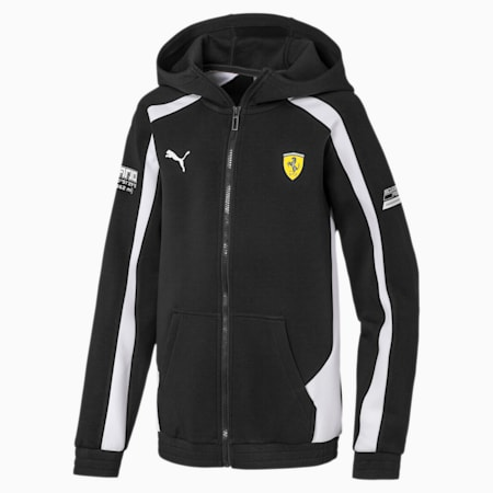 Scuderia Ferrari Hooded Kids' Sweat Jacket, Puma Black, small-SEA