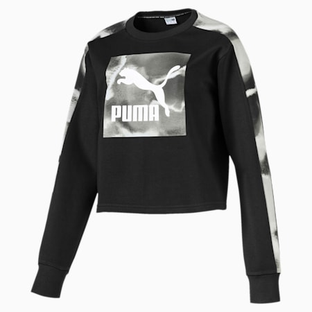 Cloud Pack Long Sleeve Women's Sweater, Cotton Black, small-SEA