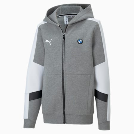 BMW M Motorsport Boys' Hooded Sweat Jacket JR, Medium Gray Heather, small