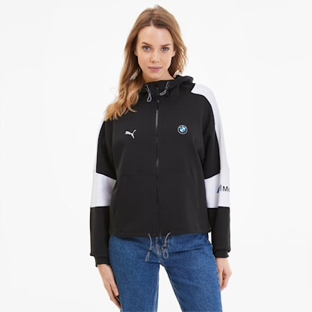BMW M Motorsport Women's Hooded Sweat Jacket, Puma Black, small