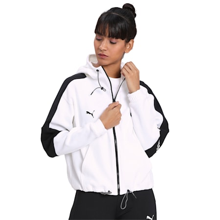 BMW M Motorsport Hooded Women's Sweat Jacket, Puma White, small-IND