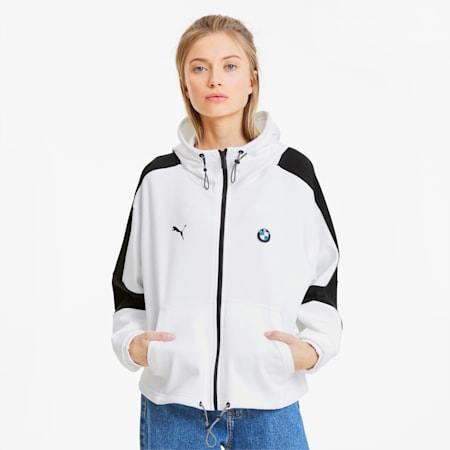 BMW M Motorsport Women's Hooded Sweat Jacket, Puma White, small