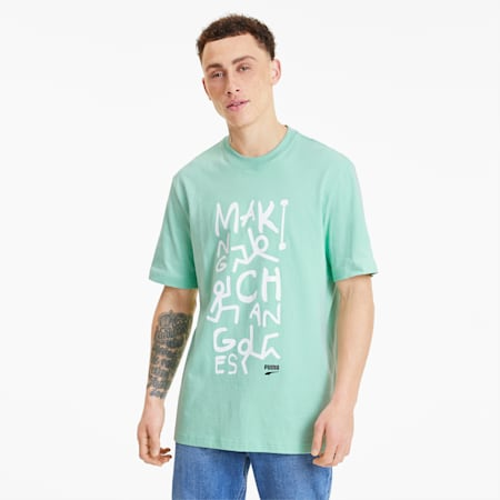 Downtown Men's Graphic Tee, Mist Green, small