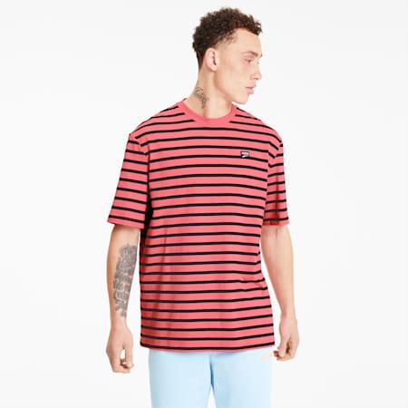Downtown Men's Striped Tee, Bubblegum, small